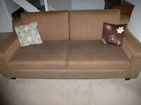 two x 3 seater settees, solid construction, dark wood feet and black/brown weave material