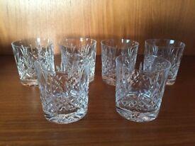 Set of 6 Rare Vintage Edinburgh Crystal Whiskey Tumblers / Glasses