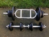 SET OF SOLID BAR DUMBELLS AND TRICEP BAR WITH 50KG OF CAST IRON WEIGHTS