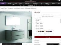 Stunning Black Fiora Italian Bathroom Vanity Unit