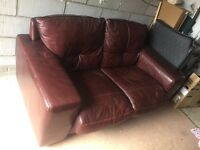Settee brown leather