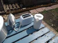 Microwave, kettle, toaster, iron, bread maker and Dolce gusto coffee machine