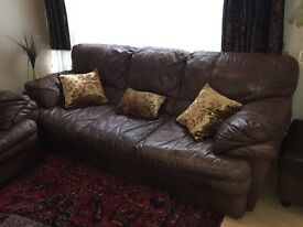 High quality Italian brown leather sofa set