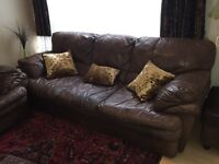 High quality Italian brown leather sofa set