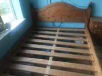 Solid wood pine double bed