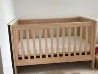 Cot Bed with spring mattress converts to single Bed