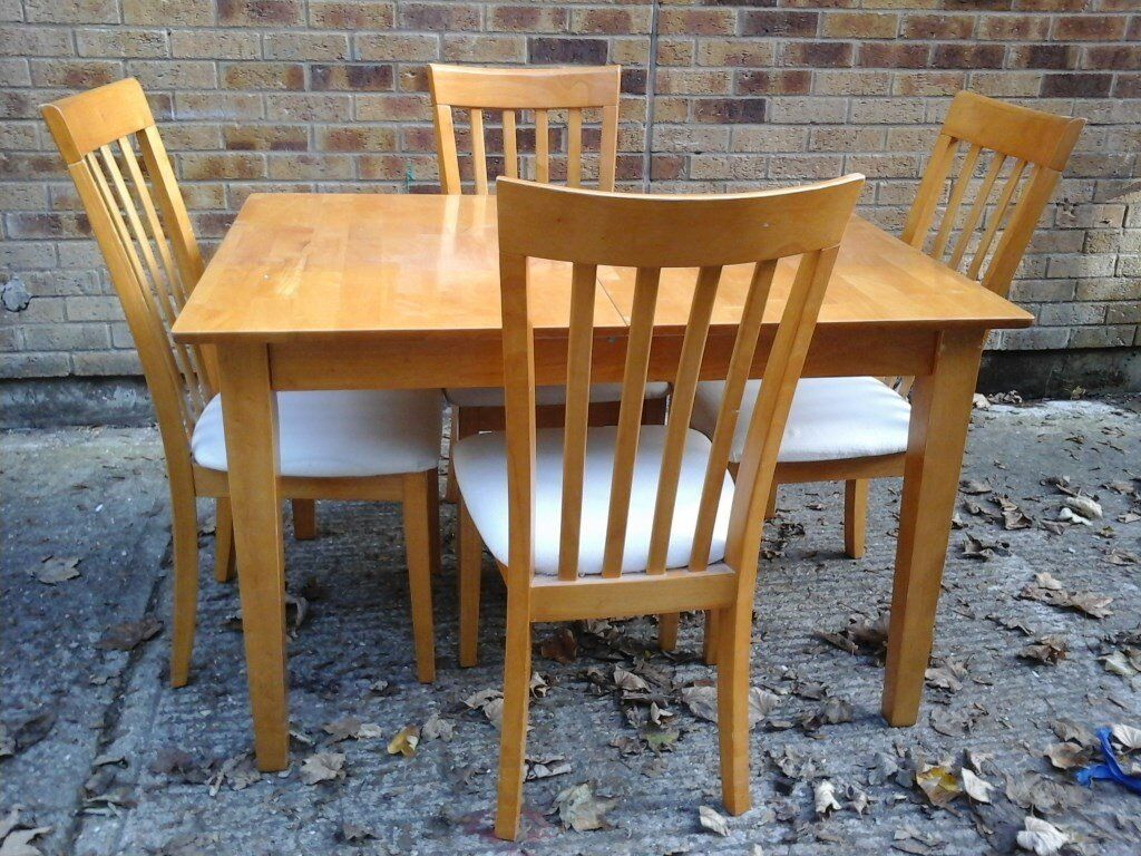 Light wooden table & 4 cream chairs (2