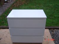 White Three Drawer Chest. Can Deliver.