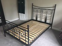 Ikea Noresund Black Metal Double Bed Frame
