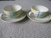 BRAND NEW ITEM -PAIR OF GREEN AND YELLOW CHECKED LARGE CUPS AND SAUCERS