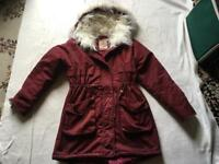 Jasonwood ladies coat hoody fur wine colour size M/12 ex condition £8