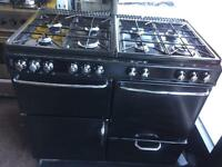 Black new home 100cm seven burners gas cooker grill & double oven with guarantee bargain