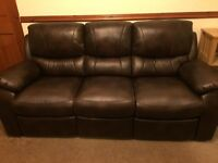 Brown leather look recliner sofa