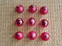 9 Pink Mini Baubles Christmas Tree Decorations Xmas Tree Ornaments