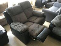 Brand New Designer 2 Seater Grey Jumbo Cord Reclining Sofa