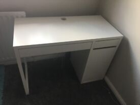 White Desk with two drawers and a cupboard