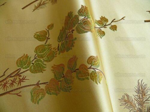 """BY YARD SCHUMACHER 100% SILK 100% SILK LAMPAS BELL FLOWER 466 """"PINE"""" GREEN GOLD"""