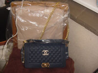 """Navy quilted """"boy"""" bag"""