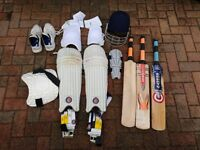 Full cricket kit including 3 bats, Helmet, 2 sets of pads, gloves, arm guard, chest pad, etc
