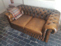 HAND-CRAFTED LOCALLY, 3-PIECE LEATHER CHESTERFIELD SUITE (SOFA AND 2 CHAIRS)S