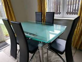 Frosted glass 6 seater dining table