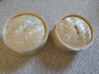 Bamboo steamer 8 and 7 inch