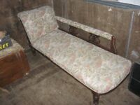 VINTAGE ORNATE CHAISE LONGUE. ORNATE MAHOGANY UPHOLSTERY. VIEWING/DELIVERY AVAILABLE
