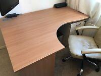 Solar Ergonomic Panel End Office Desk Left Return Oak (Excellent Condition)