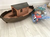 Childrens toy boat & full bag of amimals dinasours & people