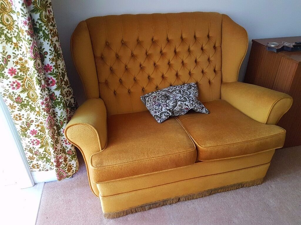 Yellow / mustard fabric colour sofa and TWO armchairs V GOOD CONDITION