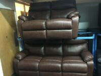 ScS New/Ex Display Tan Brown Leather 3 + 2 Seater Sofas