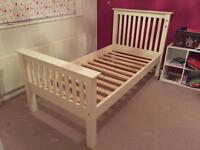 White Julian Bowen single bed and mattress