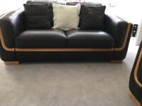 Dark Brown Leather with Light Timber Trim Settees, Arm Chair & Storage Footstool