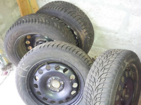 Winter tyres (175/65 R15) and steel wheels - full set - hardly used