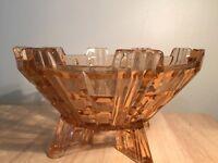 Art Deco pink glass bowl