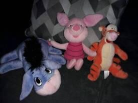 Disney Winnie the Pooh soft toys - Tigger, Piglet, Eeyore teddy bears