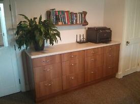 Kitchen base 3-drawer units, B&Q, walnut-effect