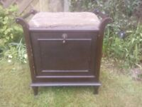 Vintage Piano Stool - with large music book storage drawer