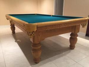 9' SOLID OAK  POOL TABLE INSTALLED