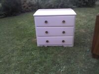 solid pink wooden vintage chester drawer great condition