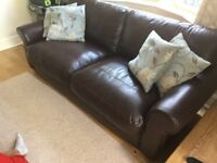 John Lewis Madison large brown Leather sofa