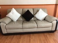 3 seater & 2 seater leather sofas with footstool