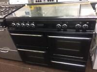 Black leisure 100cn gas cooker grill & double ovens good condition with guarantee bargain