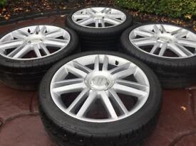 """Genuine 18"""" Audi S3 SLine A3 A4 Alloy wheels & Tyres - VW Golf MK5 6 GTi R32 Caddy"""