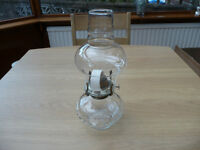 Bargain Vintage Lamplight Oil Paraffin Lamp Hobnail Glass With Chimney Wick And Winding Mechanism