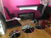 Black/chrome glass table and 4 chairs