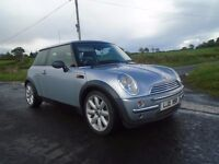 2002 bmw mini cooer 1.6 petrol silver 3 dr 130k full s h mot to 3/2018 lady owner 1 rt clas driver