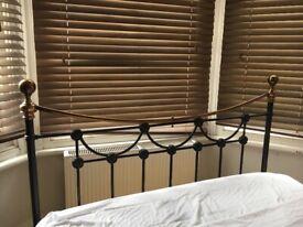 Brass & iron headboard for standard double divan bed