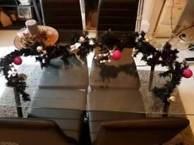 2 x Black silver pink Christmas garland