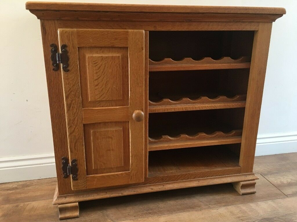 Solid Oak Wine Rack And Drinks Cabinet